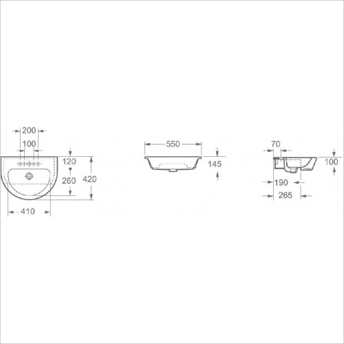 Saneux Basin - Austen Semi-Recessed Washbasin 540 x 420mm