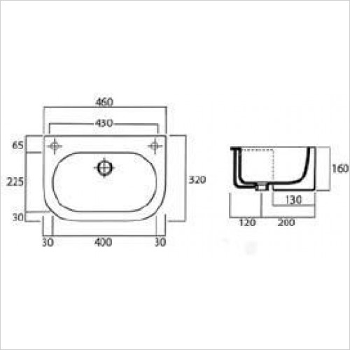 Saneux Basin - Uni 460 x 320mm Semi-Recessed Washbasin RH TH