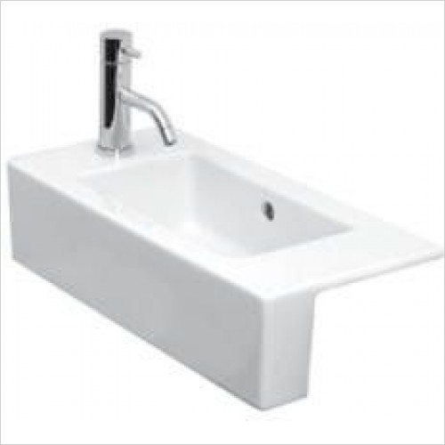 Saneux Basin - Uni 520 x 260mm Semi-Recessed Washbasin LH TH