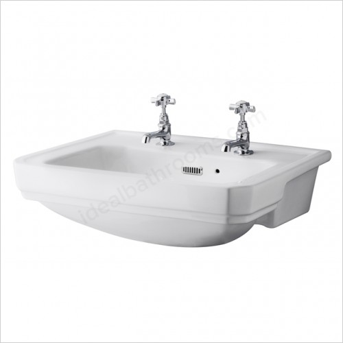 Bayswater Washbasins - Fitzroy 560mm Semi Recessed Basin, 2 Tap Hole