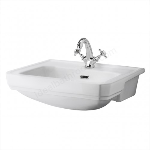 Bayswater Washbasins - Fitzroy 560mm Semi Recessed Basin, 1 Tap Hole