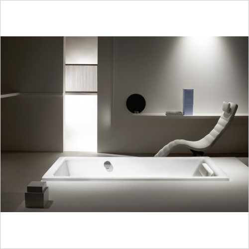 Bathwise Baths - Clean-line II 1800x800mm enamel bath with side overflow
