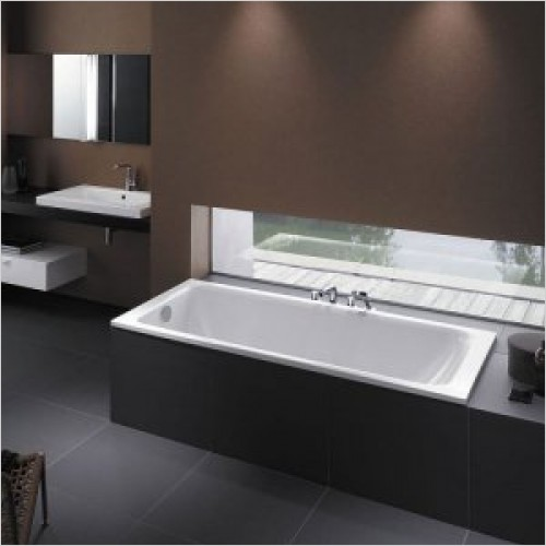 Bathwise Baths - Flex-line 1500x700mm enamel steel bath suitable for grips