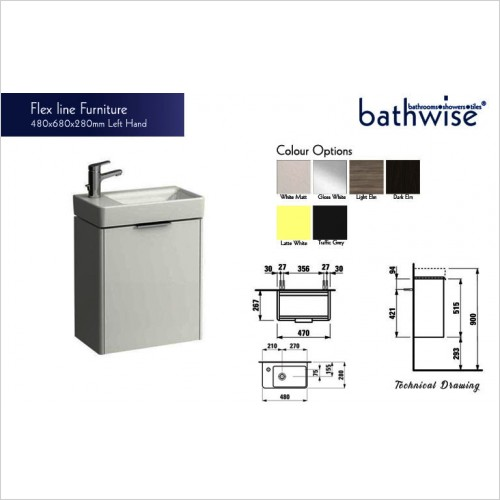 Bathwise Washbasin & Furniture - Flex-line left hand hinged vanity unit only.