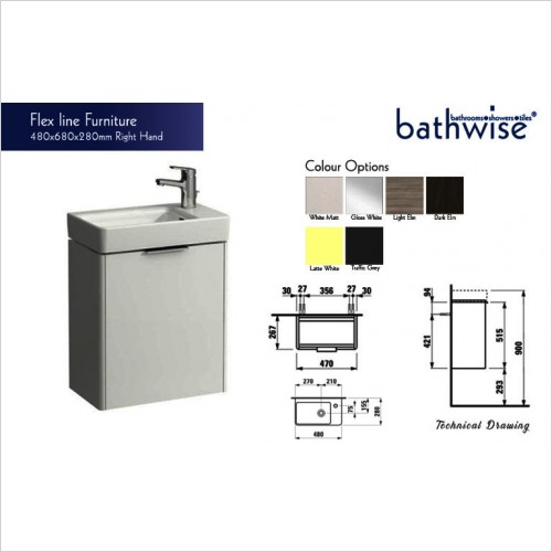 Bathwise Washbasin & Furniture - Flex-line right hand hinged vanity unit