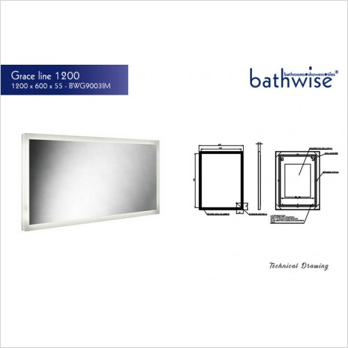 Bathwise Mirror/Cabinets - Grace-line 1200mm illuminated mirror