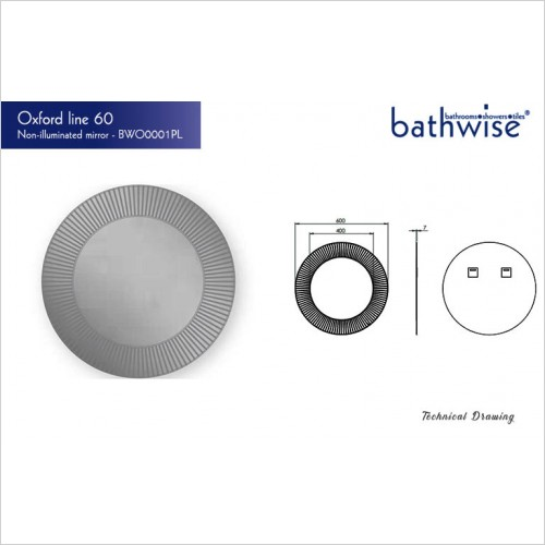 Bathwise Mirror/Cabinets - Oxford-line 600mm round non-illuminated mirror
