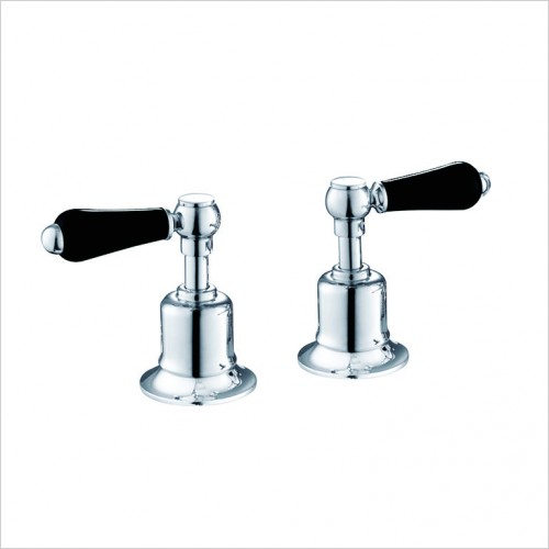 "Bathwise brassware - Oxford-line deck lever valves 3/4"" black lever"