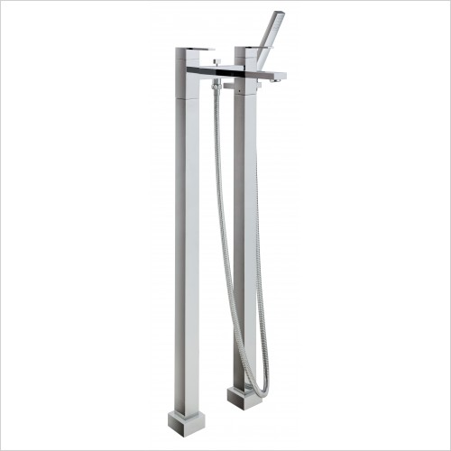 Bathwise brassware - Cube-line floor mount bath shower mixer