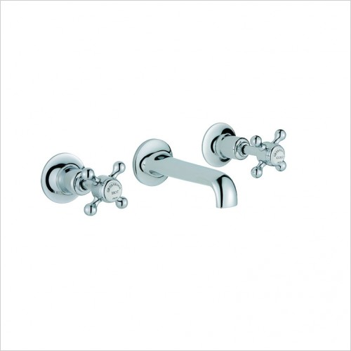 Bathwise brassware - Oxford-line wall mount 3th basin mixer excluding waste