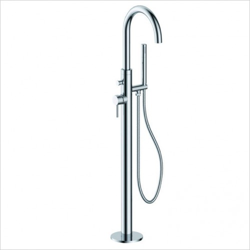 Bathwise brassware - Clean-line floor mounted side lever bath shower mixer