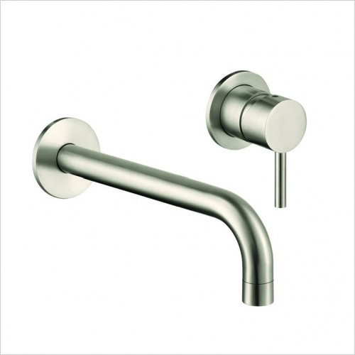 Bathwise brassware - Clean-line wall mount basin mixer excl. waste 195mm spout