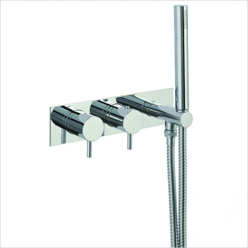 Bathwise brassware - Clean-line 2 outlet shower valve with outlet holder
