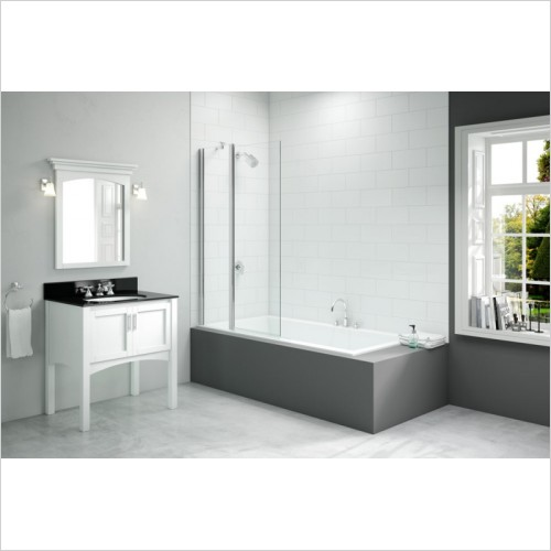 Merlyn Bathscreen - Vivid Two Panel Folding Square Bathscreen 900 x 1500mm