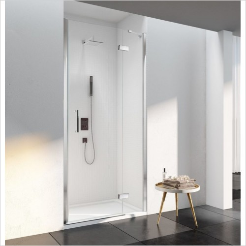 Merlyn Shower enclosures - 6 Series Frameless Hinge & Inline 1400mm Reccessed