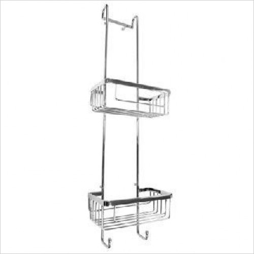 Roman Accessories - Double Hanging Shower Basket With Hooks