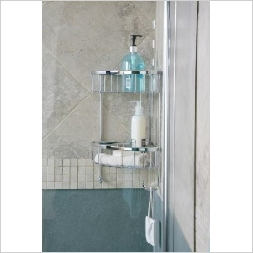 Roman Accessories - Double Corner Shower Basket With Hooks