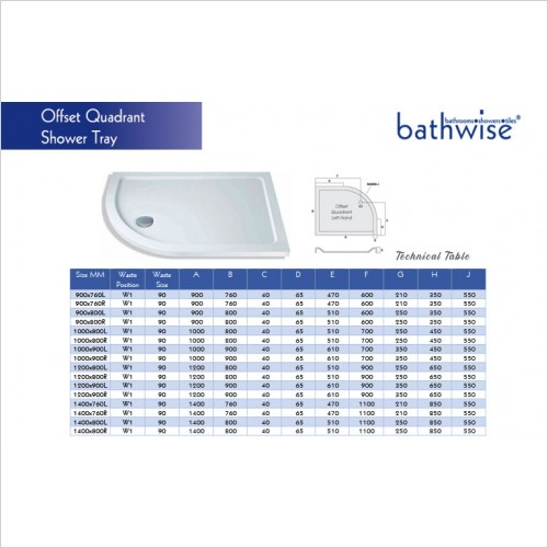 Bathwise Shower Tray - 40mm Low Profile Offset Quadrant Tray 90x80cm [LH]