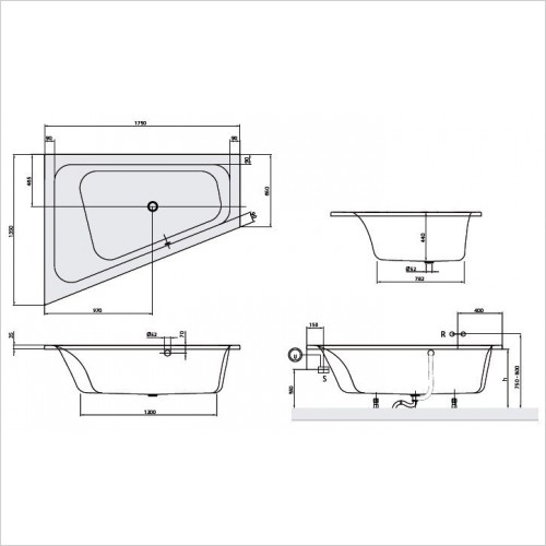 Villeroy & Boch Bath - Loop & Friends Special Shape Corner Bath 1750 x 1350mm LH
