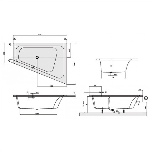 Villeroy & Boch Bath - Loop & Friends Special Shape Corner Bath 1750 x 1350mm RH