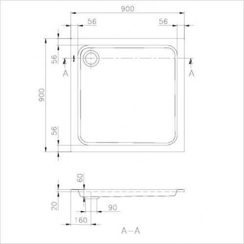 Villeroy & Boch shower tray - Futurion Square Quaryl Shower Tray 900 x 900 x 60mm