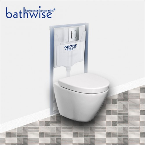 Special Offers - Value pack 3 in 1 grohe concealed frame with wall hung wc.